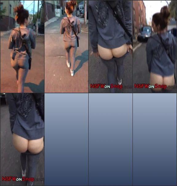 Snap Jess quick booty flasing on street snapchat premium 2018/03/03