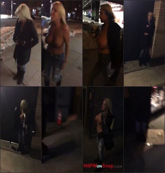 Naughty Alysha public street boobs flashing on snap snapchat premium 10/19