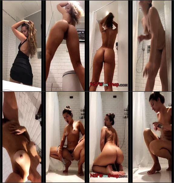Dani Daniels black dress bathroom show snapchat premium 8/06