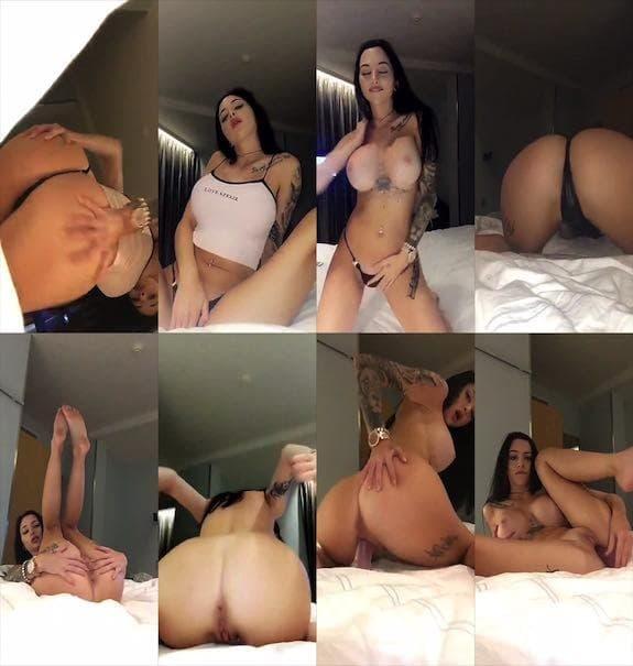 Celine Centino dildo masturbation show on bed snapchat premium 2018/07/06