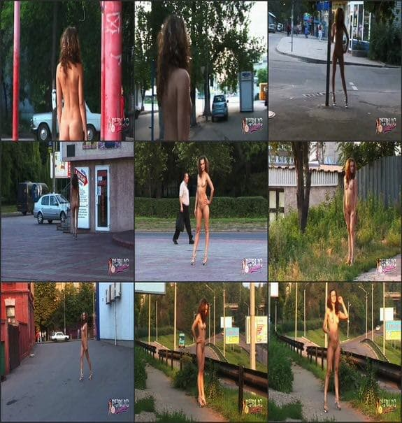 MyPublicDreams - naked girl walking in the city center