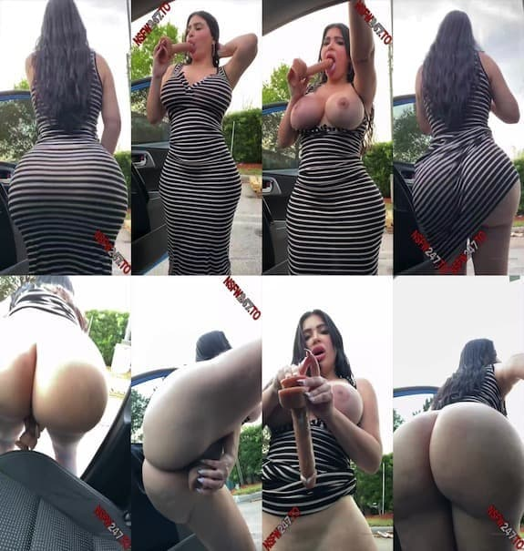 Crystal Lust - risky public dildo masturbation in striped dress