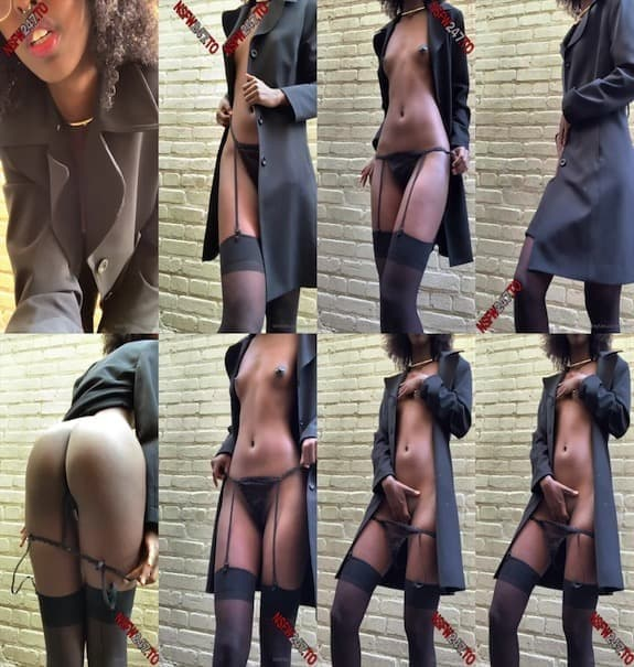 Sexmeat - teasing in her jacketg wearing only lingerie underneath