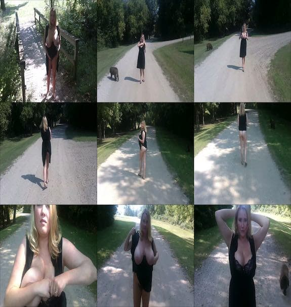 Annabelle Rogers - a naughty walk in the park with flashing