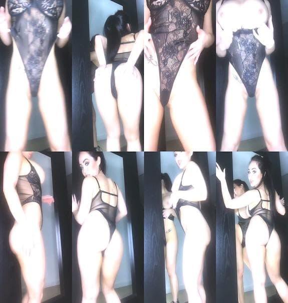 Caty - Sexy black bodysuit teasing