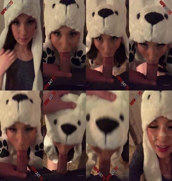 Anna Blossom - sucking dick dressed as cute polar bear