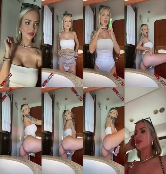 Layna Boo - Sneaking away on a boat playing with my pussy in the bathroom with a vibrator that I brought snapchat premium 2021/01/18